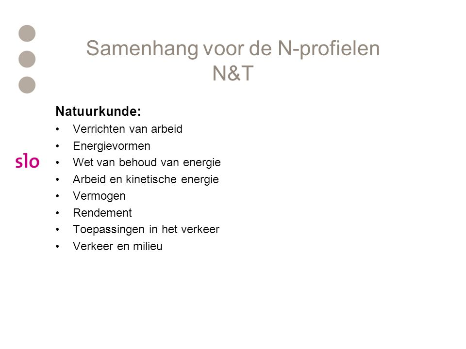 Samenhang voor de N-profielen N&T Natuurkunde: Verrichten van arbeid Energievormen Wet van behoud van energie Arbeid en kinetische energie Vermogen Rendement Toepassingen in het verkeer Verkeer en milieu