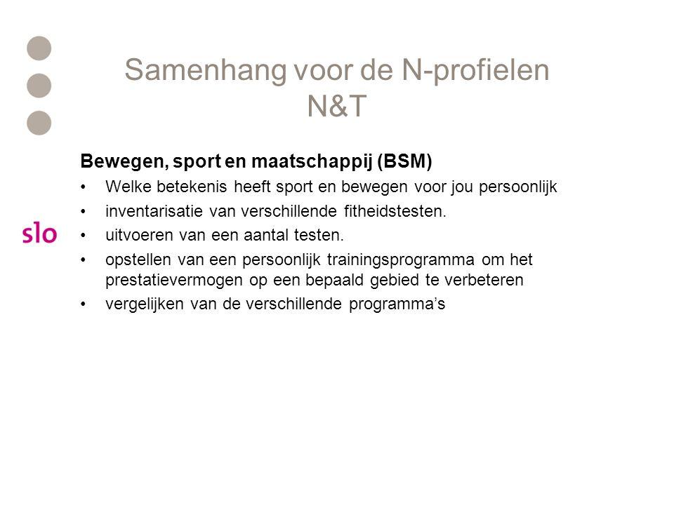 Samenhang voor de N-profielen N&T Bewegen, sport en maatschappij (BSM) Welke betekenis heeft sport en bewegen voor jou persoonlijk inventarisatie van verschillende fitheidstesten.