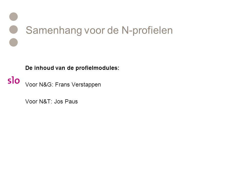 Samenhang voor de N-profielen De inhoud van de profielmodules: Voor N&G: Frans Verstappen Voor N&T: Jos Paus