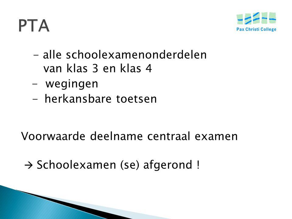 - alle schoolexamenonderdelen van klas 3 en klas 4 - wegingen - herkansbare toetsen Voorwaarde deelname centraal examen  Schoolexamen (se) afgerond !