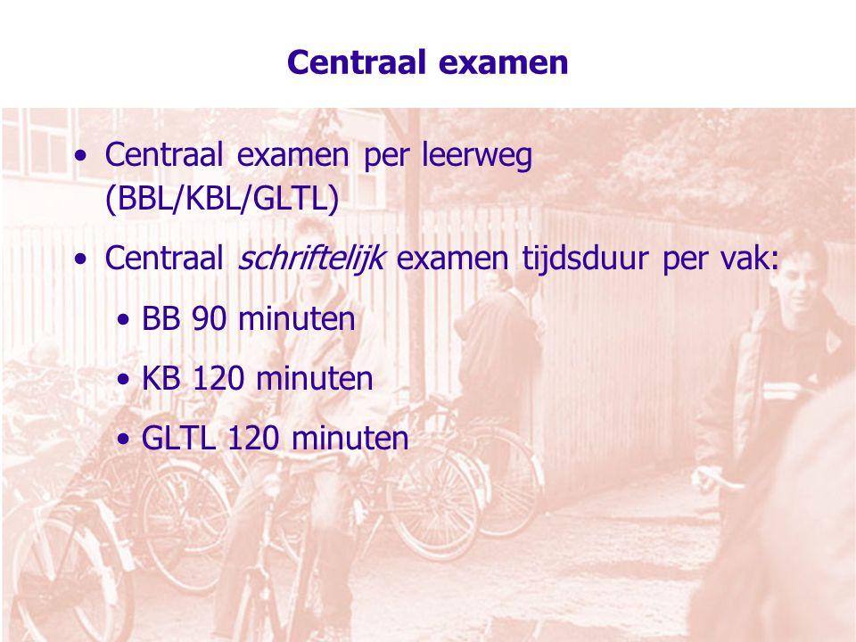 Centraal examen Centraal examen per leerweg (BBL/KBL/GLTL) Centraal schriftelijk examen tijdsduur per vak: BB 90 minuten KB 120 minuten GLTL 120 minuten