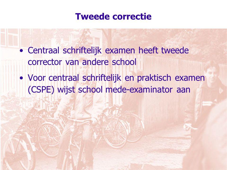 Tweede correctie Centraal schriftelijk examen heeft tweede corrector van andere school Voor centraal schriftelijk en praktisch examen (CSPE) wijst school mede-examinator aan