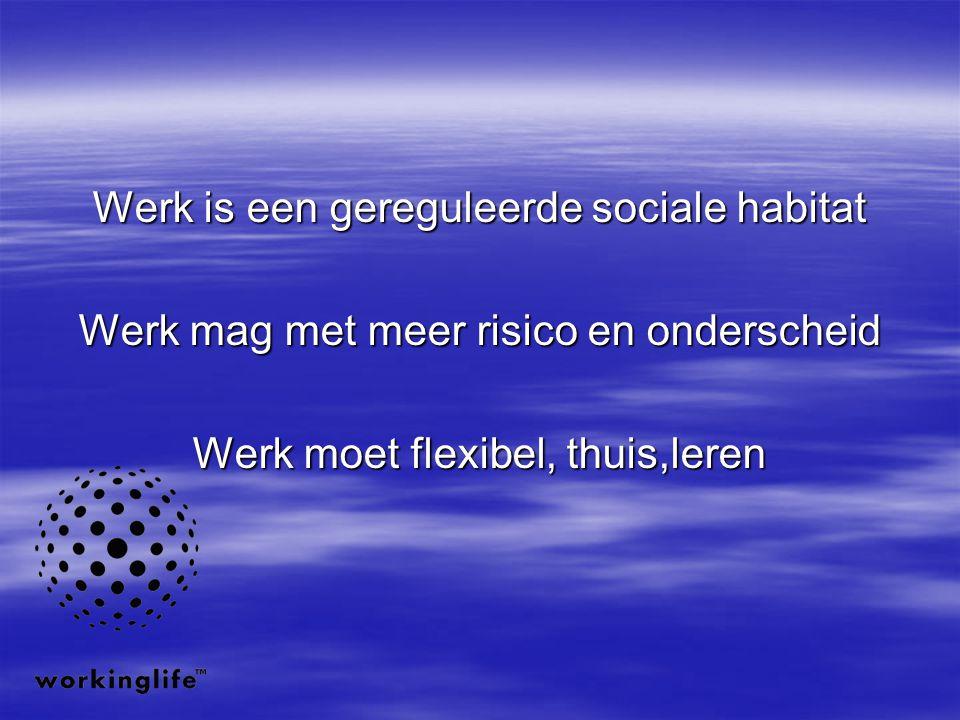 Werk is een gereguleerde sociale habitat Werk mag met meer risico en onderscheid Werk moet flexibel, thuis,leren