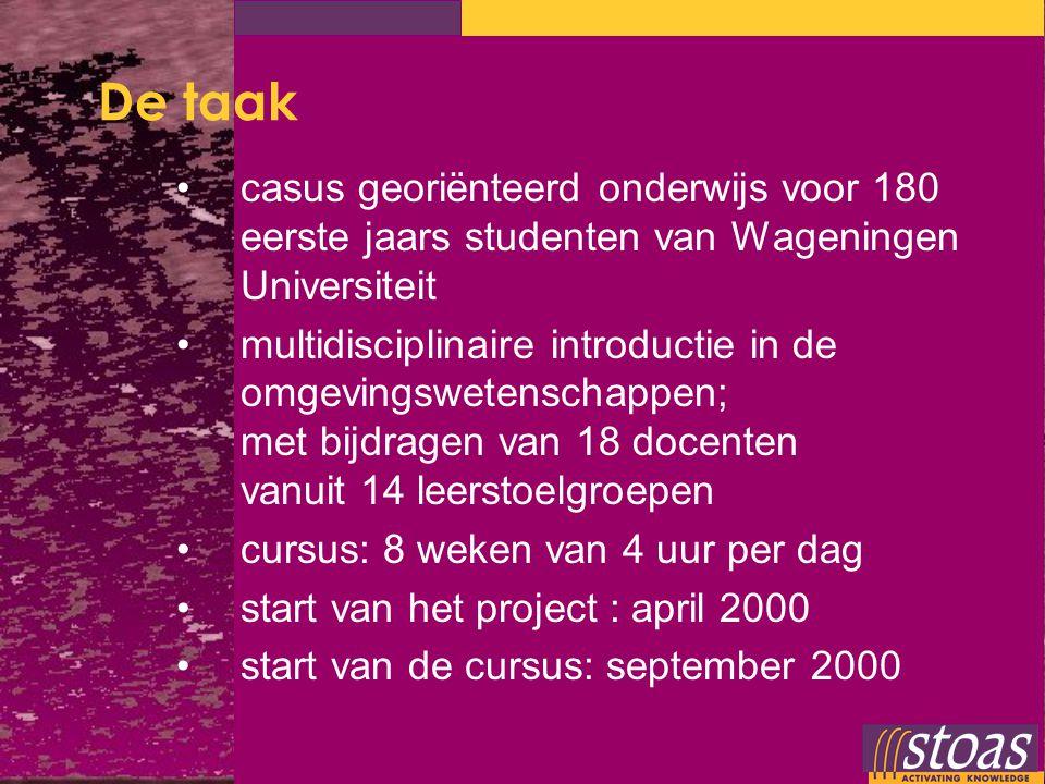 De taak casus georiënteerd onderwijs voor 180 eerste jaars studenten van Wageningen Universiteit multidisciplinaire introductie in de omgevingswetensc