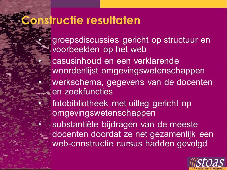 Constructie resultaten groepsdiscussies gericht op structuur en voorbeelden op het web casusinhoud en een verklarende woordenlijst omgevingswetenschap