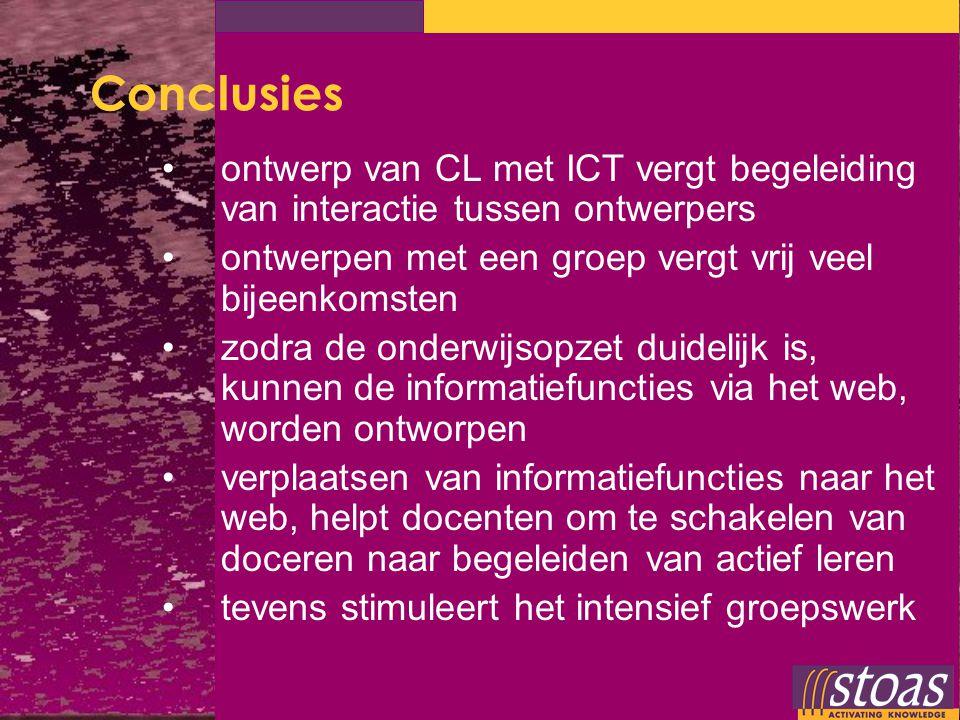 Conclusies ontwerp van CL met ICT vergt begeleiding van interactie tussen ontwerpers ontwerpen met een groep vergt vrij veel bijeenkomsten zodra de on