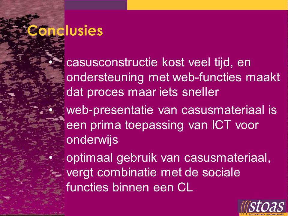 Conclusies casusconstructie kost veel tijd, en ondersteuning met web-functies maakt dat proces maar iets sneller web-presentatie van casusmateriaal is