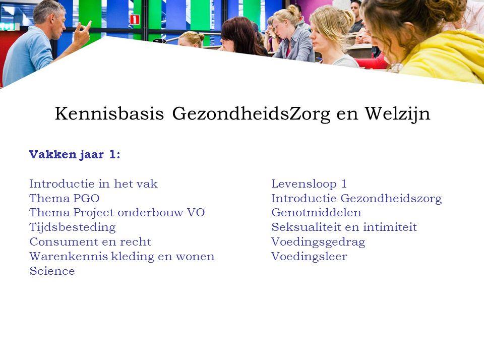 Kennisbasis GezondheidsZorg en Welzijn Vakken jaar 1: Introductie in het vakLevensloop 1 Thema PGOIntroductie Gezondheidszorg Thema Project onderbouw