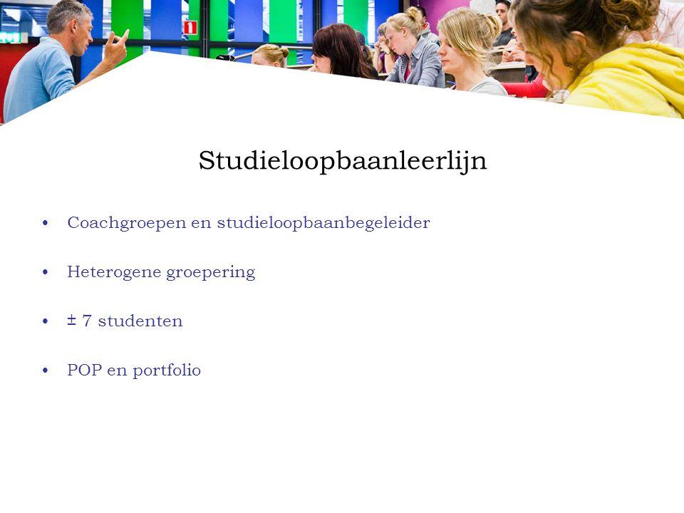 Studieloopbaanleerlijn Coachgroepen en studieloopbaanbegeleider Heterogene groepering ± 7 studenten POP en portfolio