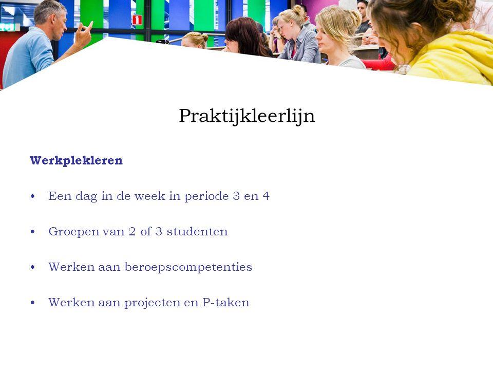 Praktijkleerlijn Werkplekleren Een dag in de week in periode 3 en 4 Groepen van 2 of 3 studenten Werken aan beroepscompetenties Werken aan projecten e