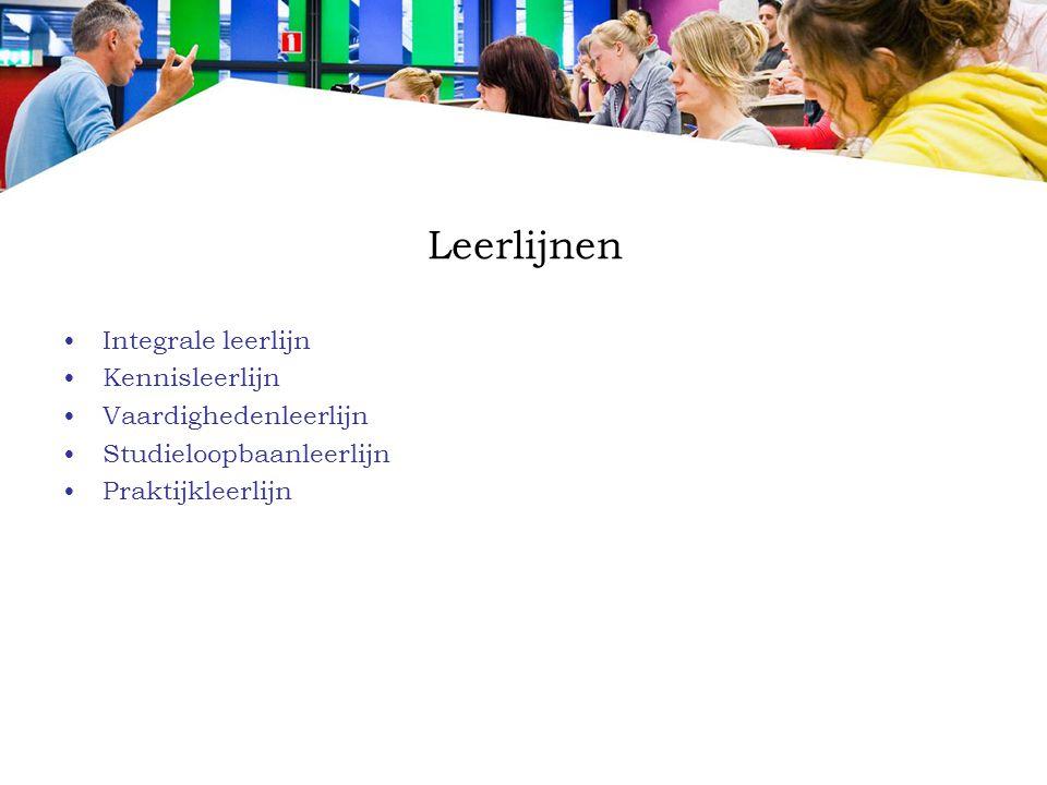 Leerlijnen Integrale leerlijn Kennisleerlijn Vaardighedenleerlijn Studieloopbaanleerlijn Praktijkleerlijn