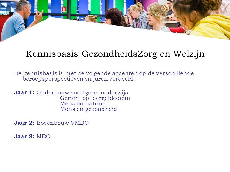 Kennisbasis GezondheidsZorg en Welzijn De kennisbasis is met de volgende accenten op de verschillende beroepsperspectieven en jaren verdeeld. Jaar 1: