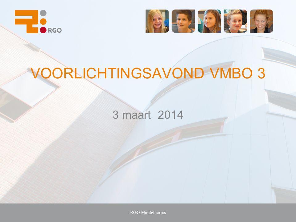 VOORLICHTINGSAVOND VMBO 3 3 maart 2014 RGO Middelharnis