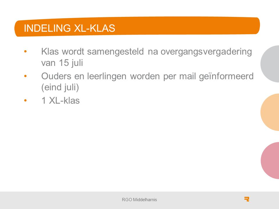 INDELING XL-KLAS Klas wordt samengesteld na overgangsvergadering van 15 juli Ouders en leerlingen worden per mail geïnformeerd (eind juli) 1 XL-klas RGO Middelharnis