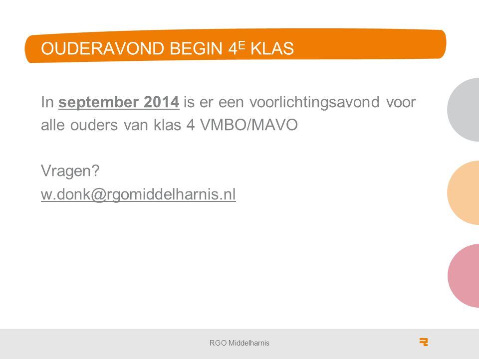 OUDERAVOND BEGIN 4 E KLAS In september 2014 is er een voorlichtingsavond voor alle ouders van klas 4 VMBO/MAVO Vragen.
