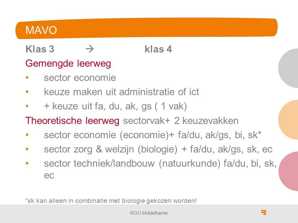 MAVO Klas 3  klas 4 Gemengde leerweg sector economie keuze maken uit administratie of ict + keuze uit fa, du, ak, gs ( 1 vak) Theoretische leerweg sectorvak+ 2 keuzevakken sector economie (economie)+ fa/du, ak/gs, bi, sk* sector zorg & welzijn (biologie) + fa/du, ak/gs, sk, ec sector techniek/landbouw (natuurkunde) fa/du, bi, sk, ec *sk kan alleen in combinatie met biologie gekozen worden.