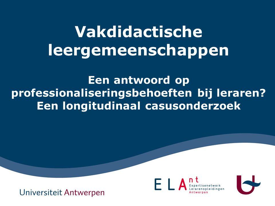 1 Vakdidactische Leergemeenschappen Een antwoord op professionaliseringsbehoeften bij leraren.