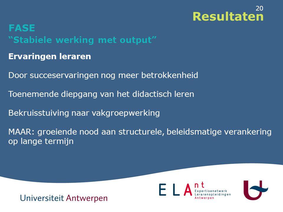 """20 Resultaten FASE """"Stabiele werking met output"""" Ervaringen leraren Door succeservaringen nog meer betrokkenheid Toenemende diepgang van het didactisc"""