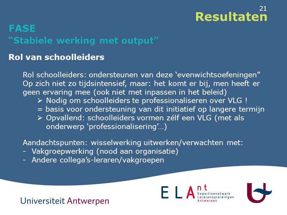 """21 Resultaten FASE """"Stabiele werking met output"""" Rol van schoolleiders Rol schoolleiders: ondersteunen van deze 'evenwichtsoefeningen"""" Op zich niet zo"""
