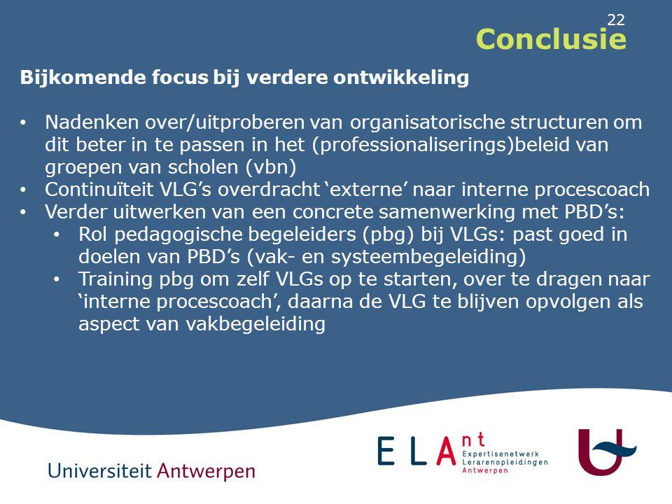 22 Conclusie Bijkomende focus bij verdere ontwikkeling Nadenken over/uitproberen van organisatorische structuren om dit beter in te passen in het (pro