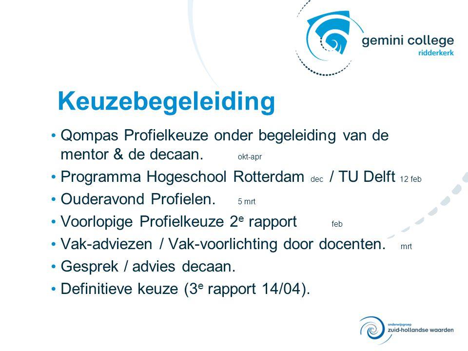 Keuzebegeleiding Qompas Profielkeuze onder begeleiding van de mentor & de decaan. okt-apr Programma Hogeschool Rotterdam dec / TU Delft 12 feb Ouderav