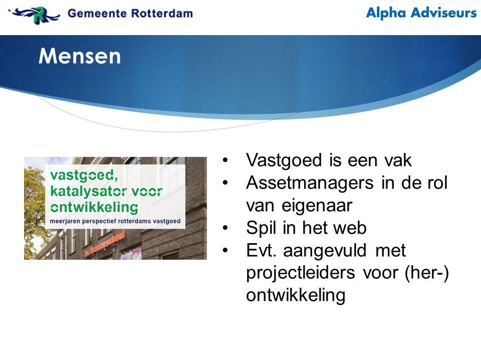 Vastgoed is een vak Assetmanagers in de rol van eigenaar Spil in het web Evt.