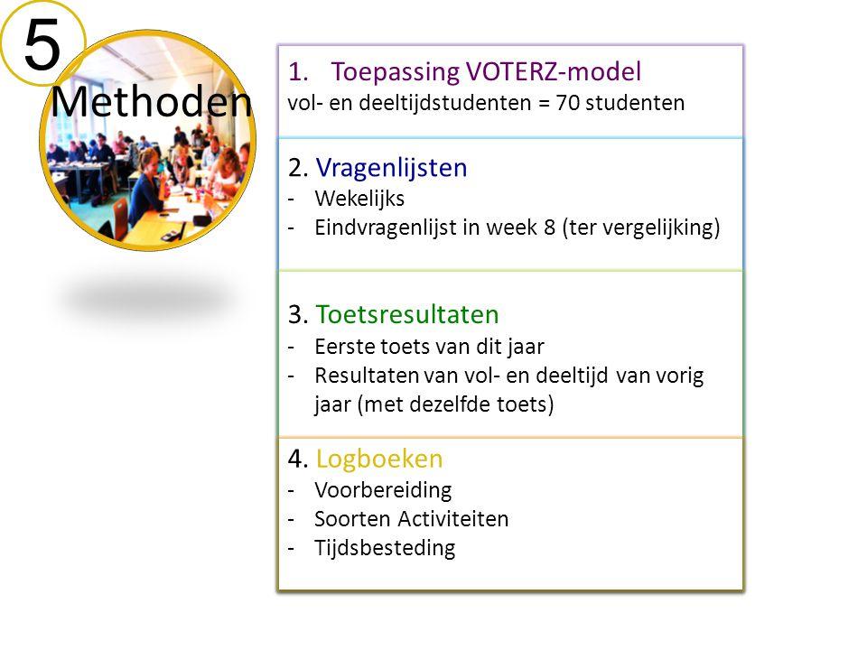 5 Methoden 1.Toepassing VOTERZ-model vol- en deeltijdstudenten = 70 studenten 2. Vragenlijsten -Wekelijks -Eindvragenlijst in week 8 (ter vergelijking