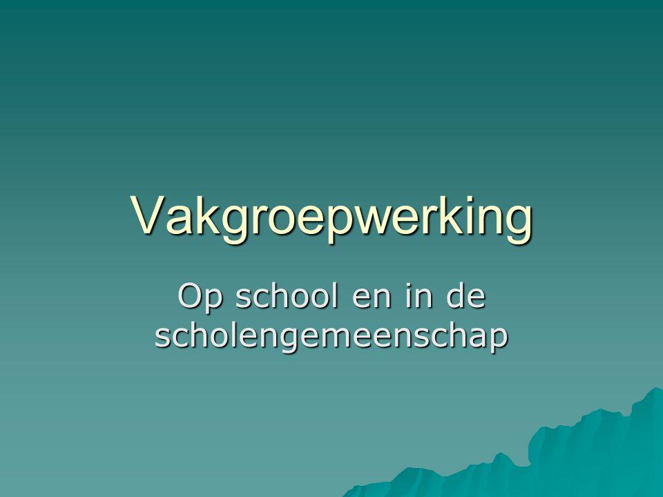 Vakgroepwerking Op school en in de scholengemeenschap