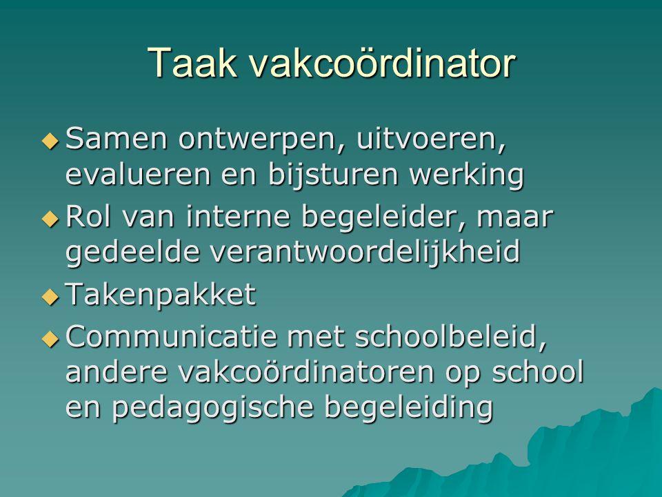Taak vakcoördinator  Samen ontwerpen, uitvoeren, evalueren en bijsturen werking  Rol van interne begeleider, maar gedeelde verantwoordelijkheid  Ta