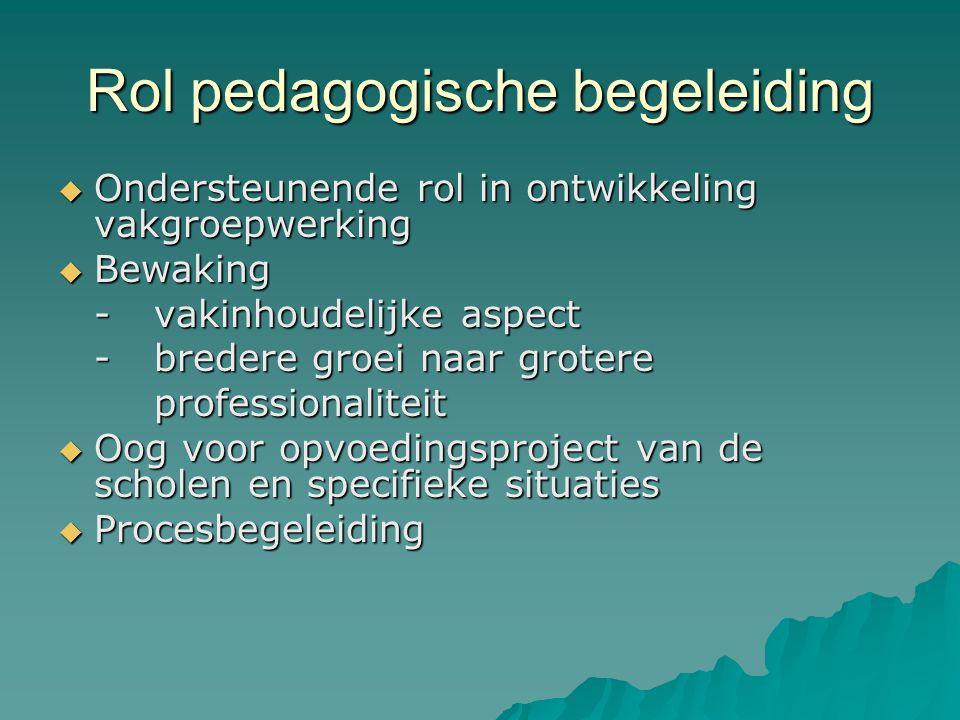 Rol pedagogische begeleiding  Ondersteunende rol in ontwikkeling vakgroepwerking  Bewaking -vakinhoudelijke aspect -bredere groei naar grotere profe