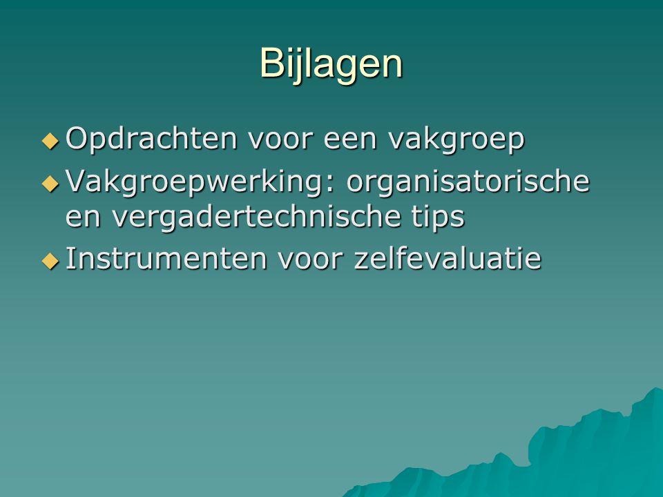 Bijlagen  Opdrachten voor een vakgroep  Vakgroepwerking: organisatorische en vergadertechnische tips  Instrumenten voor zelfevaluatie