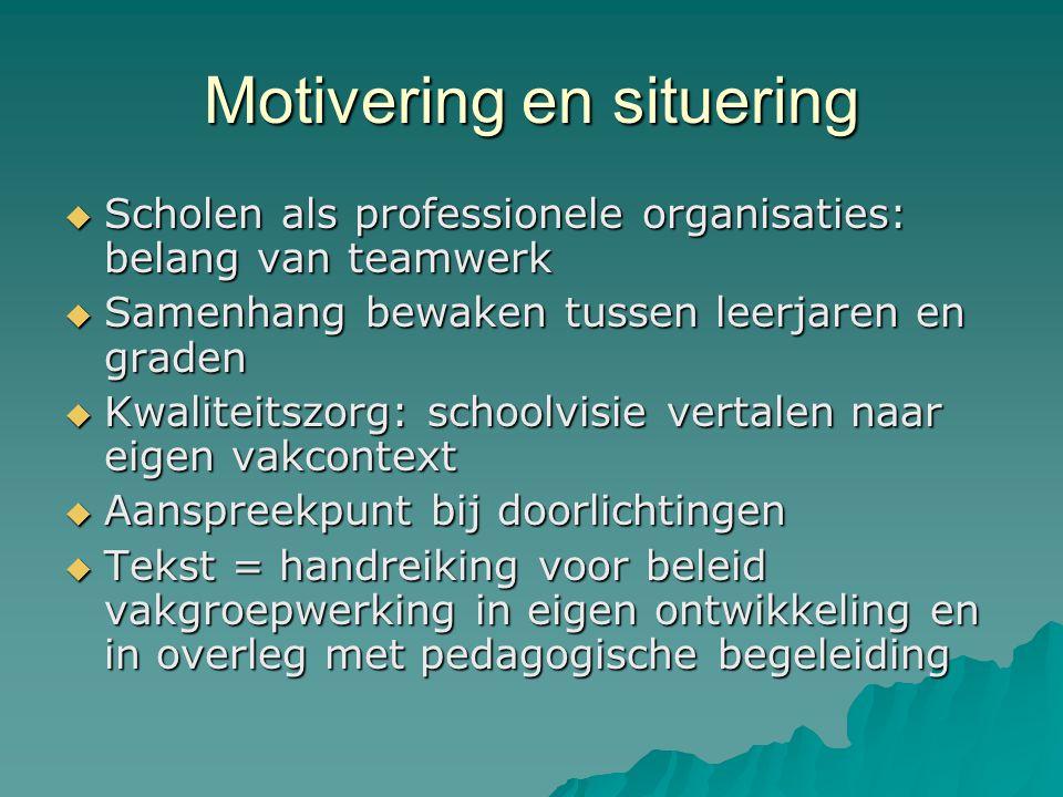 Motivering en situering  Scholen als professionele organisaties: belang van teamwerk  Samenhang bewaken tussen leerjaren en graden  Kwaliteitszorg: