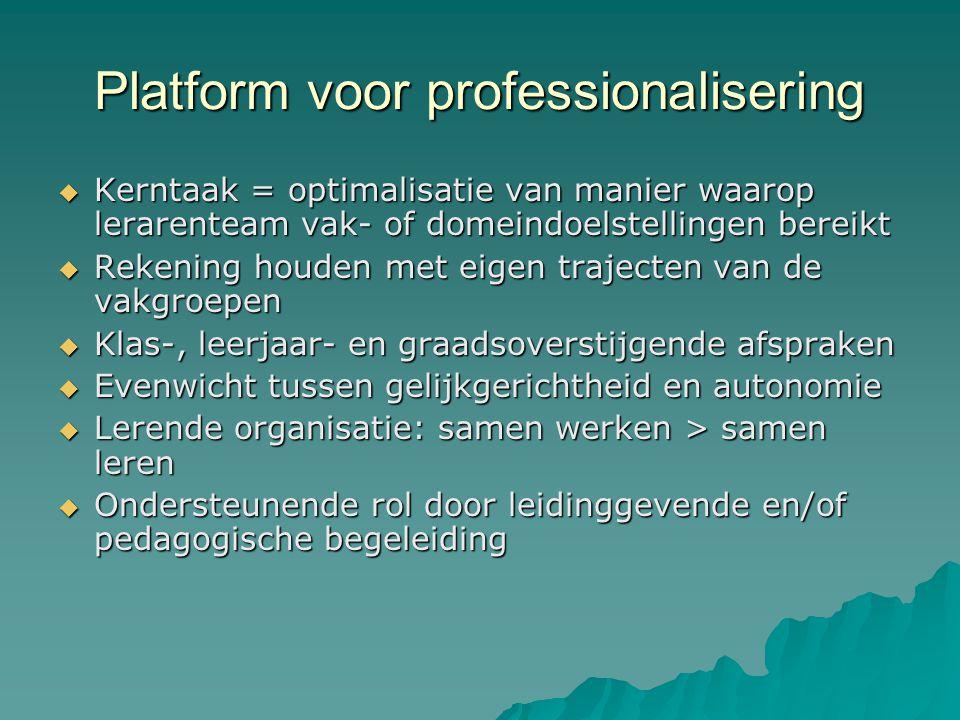 Platform voor professionalisering  Kerntaak = optimalisatie van manier waarop lerarenteam vak- of domeindoelstellingen bereikt  Rekening houden met