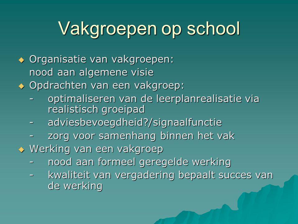 Vakgroepen op school  Organisatie van vakgroepen: nood aan algemene visie  Opdrachten van een vakgroep: -optimaliseren van de leerplanrealisatie via