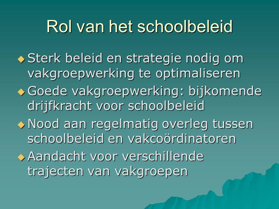 Rol van het schoolbeleid  Sterk beleid en strategie nodig om vakgroepwerking te optimaliseren  Goede vakgroepwerking: bijkomende drijfkracht voor sc