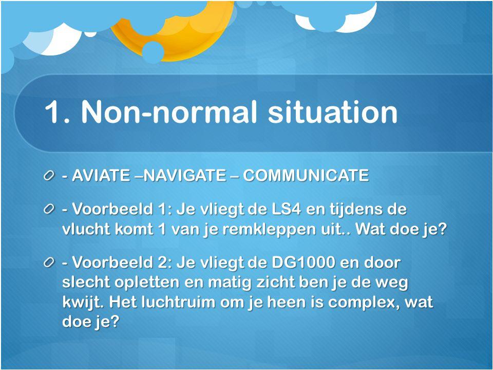 1. Non-normal situation - AVIATE –NAVIGATE – COMMUNICATE - Voorbeeld 1: Je vliegt de LS4 en tijdens de vlucht komt 1 van je remkleppen uit.. Wat doe j