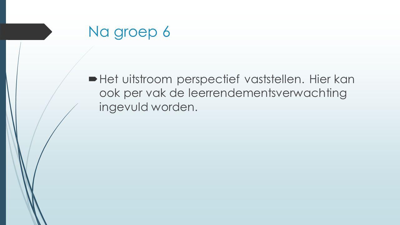 Na groep 6  Het uitstroom perspectief vaststellen. Hier kan ook per vak de leerrendementsverwachting ingevuld worden.