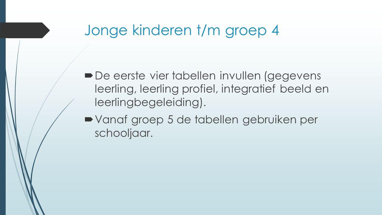 Jonge kinderen t/m groep 4  De eerste vier tabellen invullen (gegevens leerling, leerling profiel, integratief beeld en leerlingbegeleiding).  Vanaf