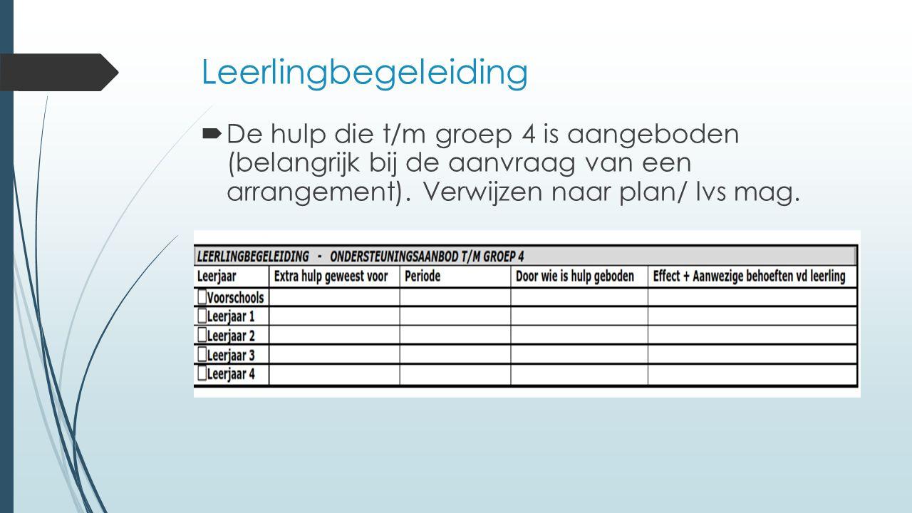 Leerlingbegeleiding  De hulp die t/m groep 4 is aangeboden (belangrijk bij de aanvraag van een arrangement). Verwijzen naar plan/ lvs mag.