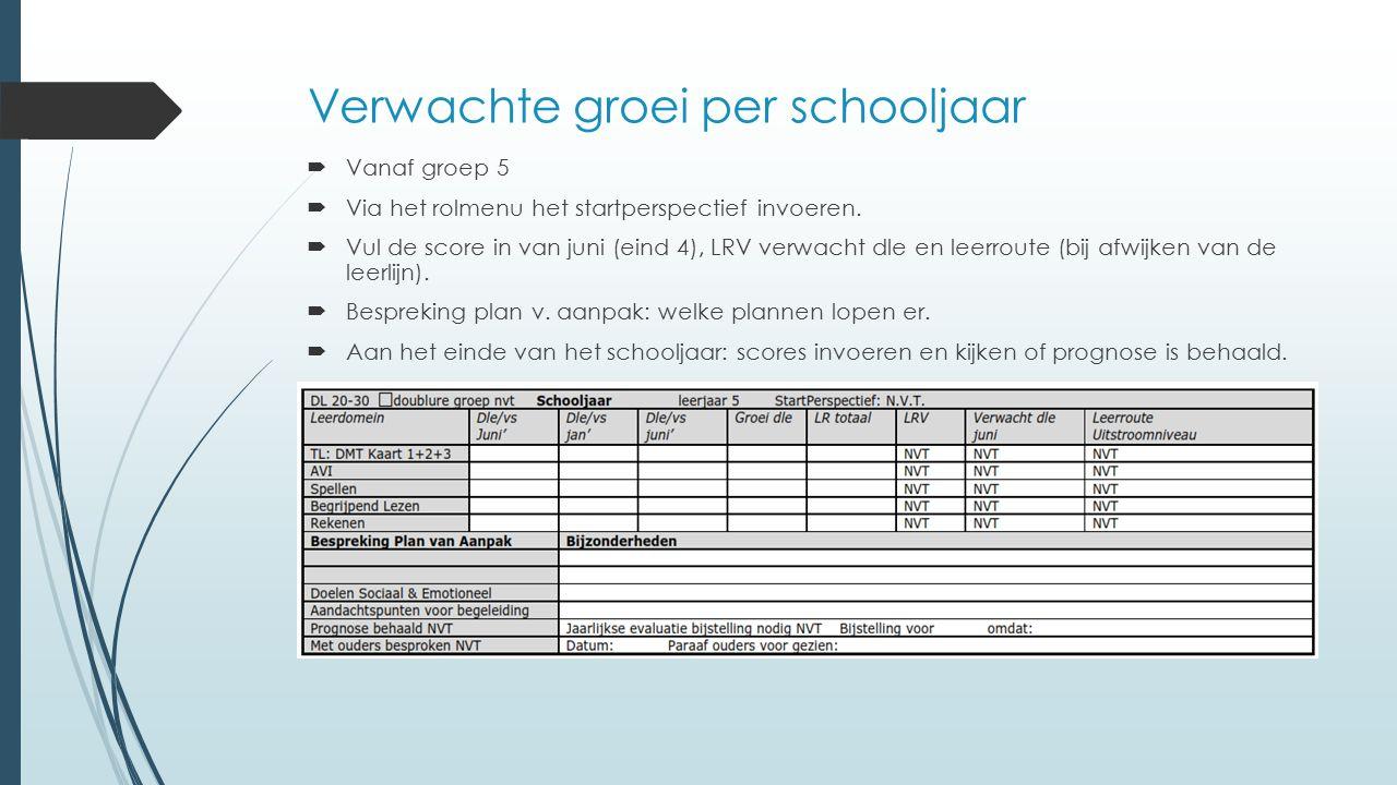 Verwachte groei per schooljaar  Vanaf groep 5  Via het rolmenu het startperspectief invoeren.  Vul de score in van juni (eind 4), LRV verwacht dle