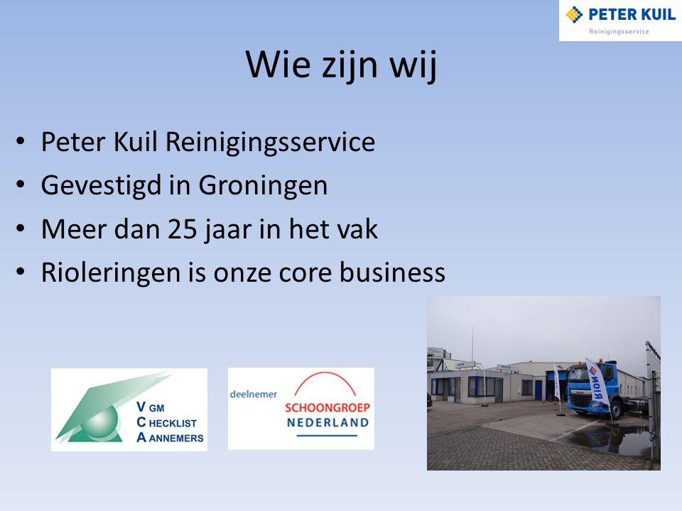 Wie zijn wij Peter Kuil Reinigingsservice Gevestigd in Groningen Meer dan 25 jaar in het vak Rioleringen is onze core business