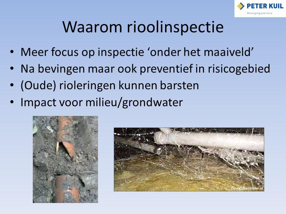 Waarom rioolinspectie Meer focus op inspectie 'onder het maaiveld' Na bevingen maar ook preventief in risicogebied (Oude) rioleringen kunnen barsten Impact voor milieu/grondwater