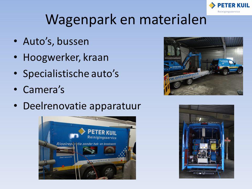 Wagenpark en materialen Auto's, bussen Hoogwerker, kraan Specialistische auto's Camera's Deelrenovatie apparatuur