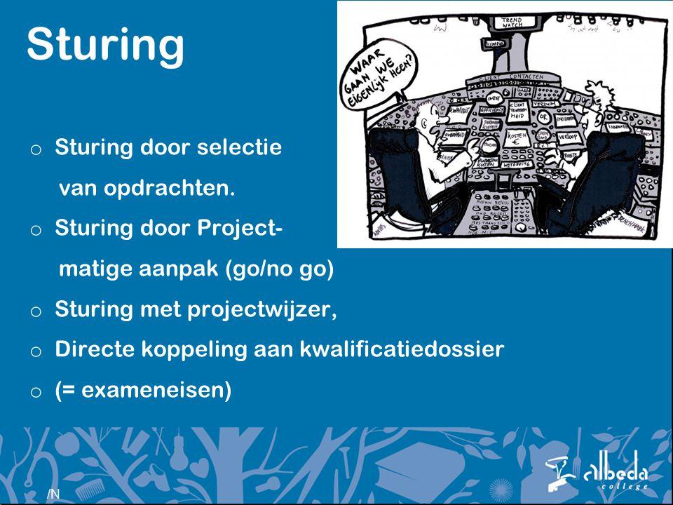 /N Sturing o Sturing door selectie van opdrachten. o Sturing door Project- matige aanpak (go/no go) o Sturing met projectwijzer, o Directe koppeling a
