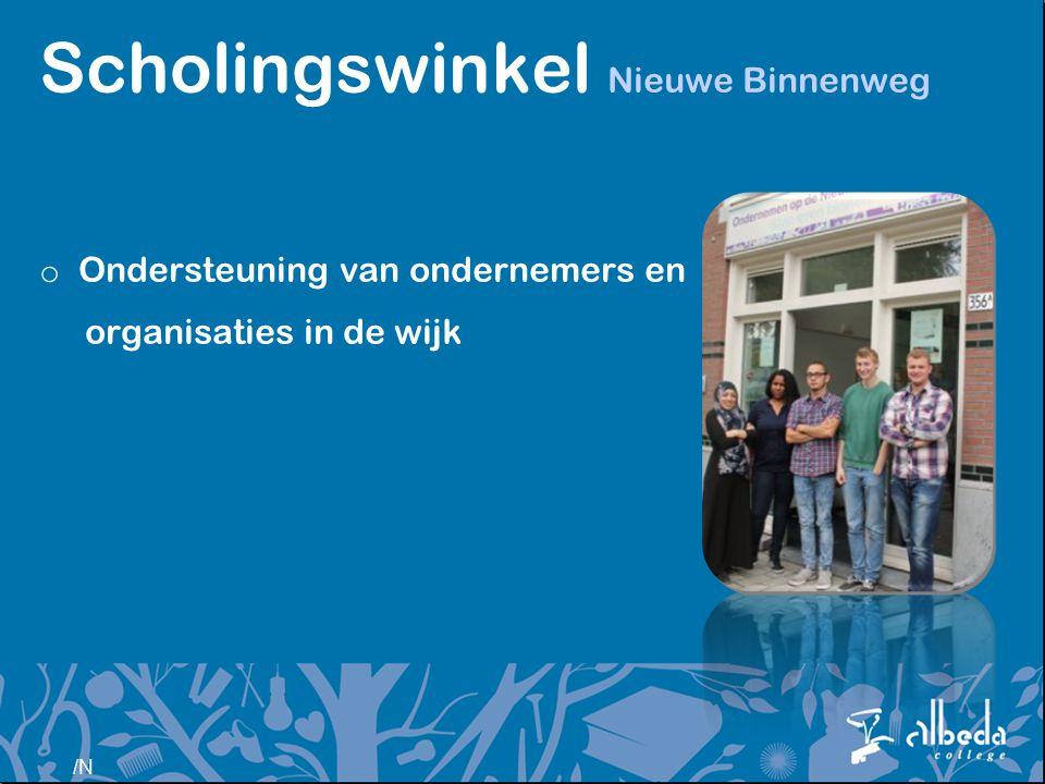 /N Scholingswinkel Nieuwe Binnenweg o Ondersteuning van ondernemers en organisaties in de wijk