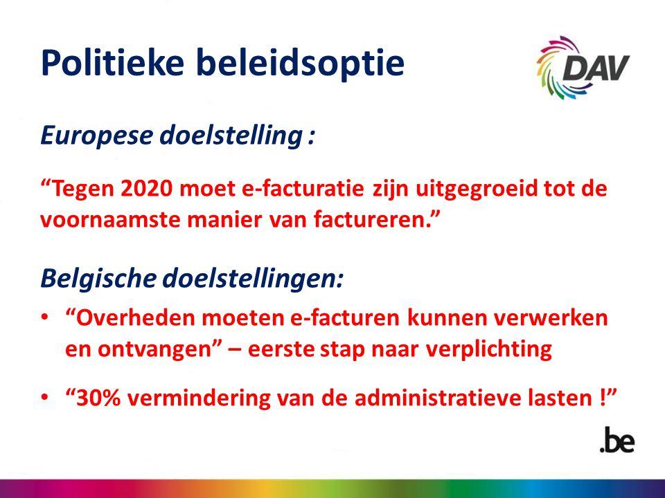 """Politieke beleidsoptie Europese doelstelling : """"Tegen 2020 moet e-facturatie zijn uitgegroeid tot de voornaamste manier van factureren."""" Belgische doe"""