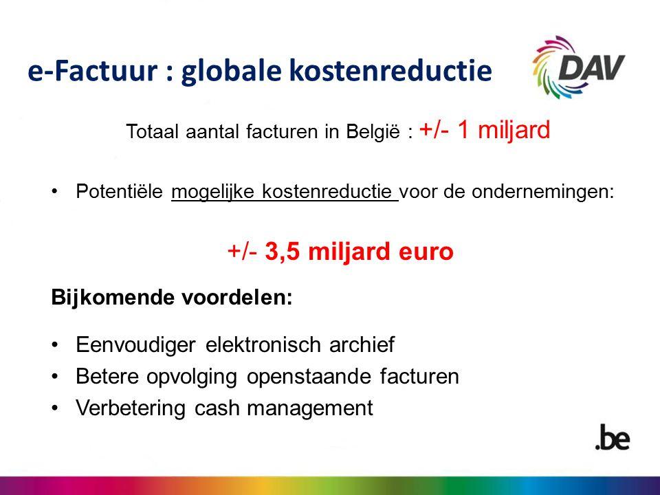 Totaal aantal facturen in België : +/- 1 miljard Potentiële mogelijke kostenreductie voor de ondernemingen: +/- 3,5 miljard euro Bijkomende voordelen: