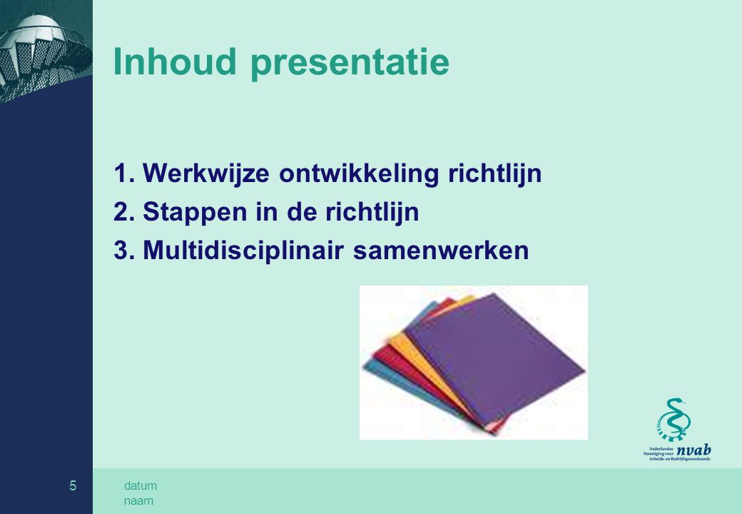 datum naam 6 Werkwijze ontwikkeling richtlijn Samenwerking 5 professies in projectgroep Systematische literatuurstudie Concept Commentaarronde Praktijktest in teams