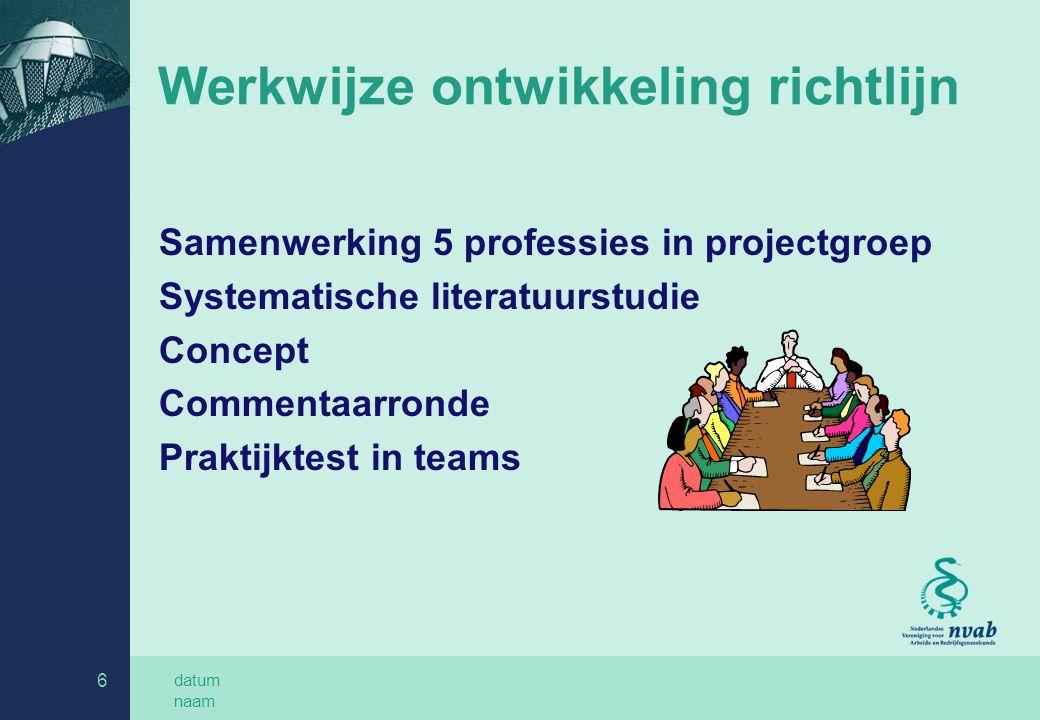 datum naam 7 Stappen in de richtlijn 1 Advies aan werkgever 2 Gehoorbeschermingsprogramma 2.1 RI&E 2.2 Arbeidshygiënische strategie 2.3 Procesevaluatie 3 Voorlichting