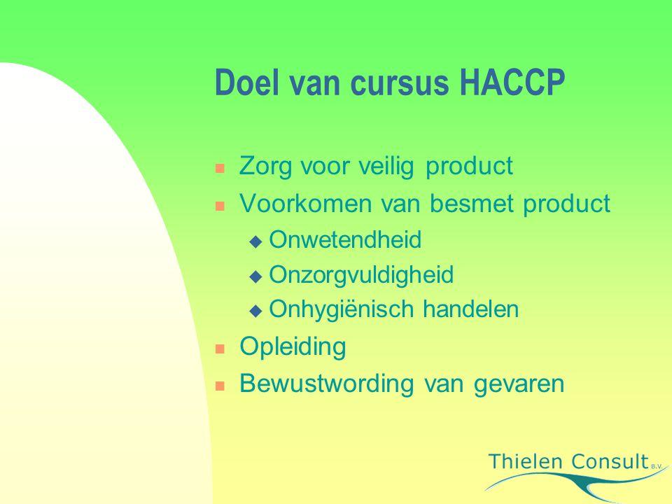 Doel van cursus HACCP Zorg voor veilig product Voorkomen van besmet product  Onwetendheid  Onzorgvuldigheid  Onhygiënisch handelen Opleiding Bewust